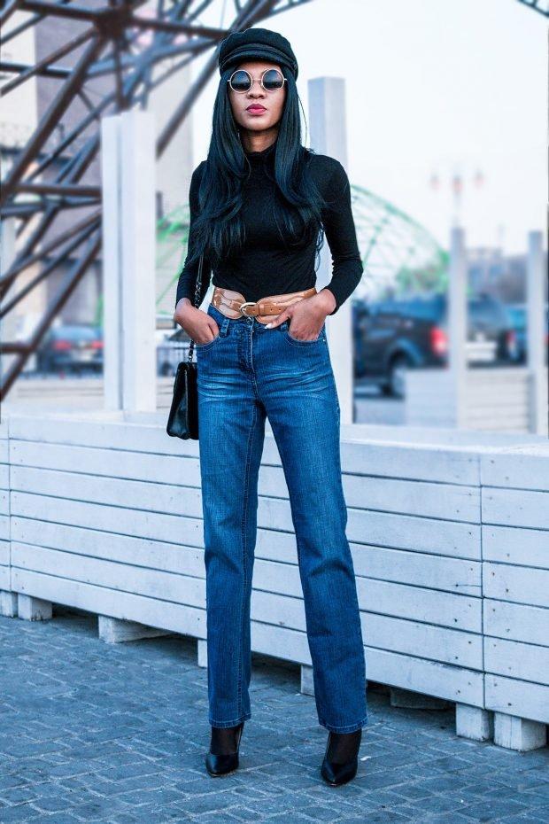 черный топ и прямые джинсы с чем носить