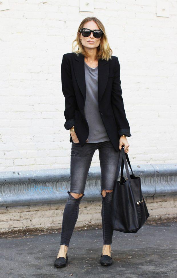 черный пиджак и джинсы с чем носить