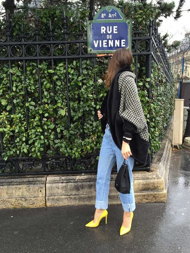 желтые туфли и свободные джинсы с чем носить