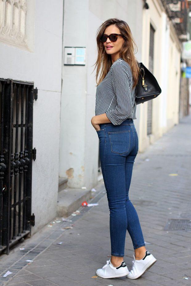 белые кеды и джинсы с чем носить