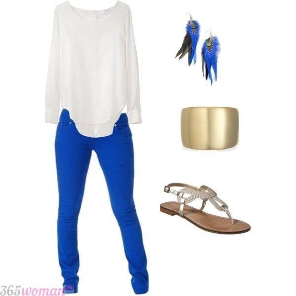 модный образ с ярко синими брюками с чем носить