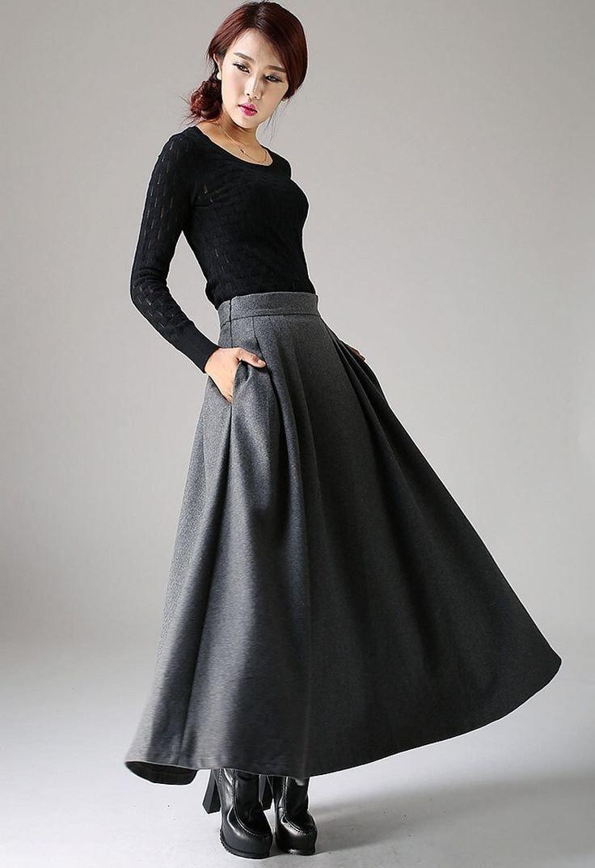 с чем носить широкая длинная серая юбка