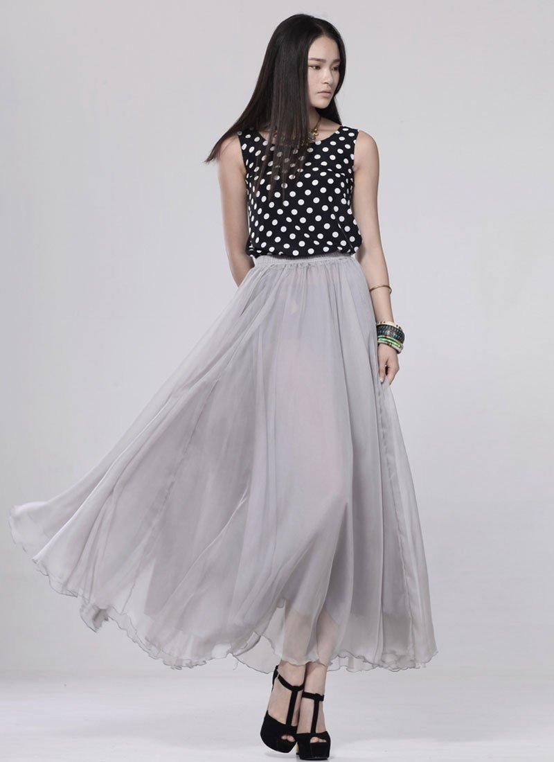 с чем носить длинная шифоновая серая юбка