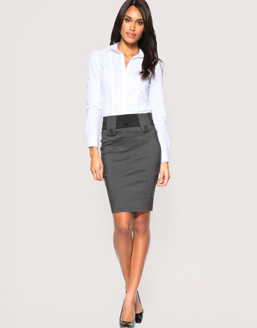 серая юбка карандаш с декоративными элементами с чем носить