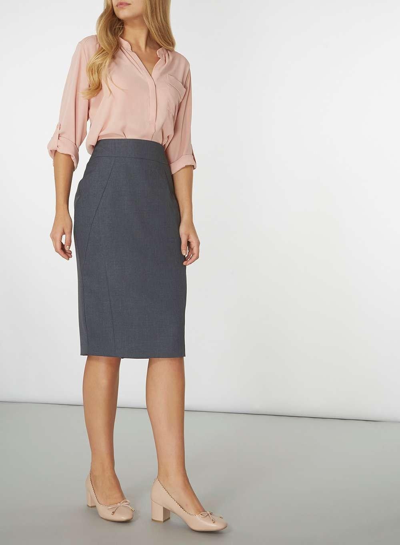 с чем носить темно-серая юбка карандаш и розовая блуза
