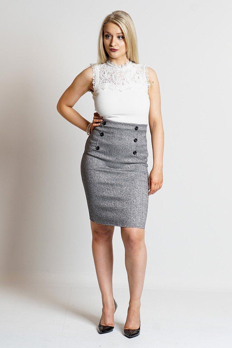с чем носить серую юбку карандаш с пуговицами