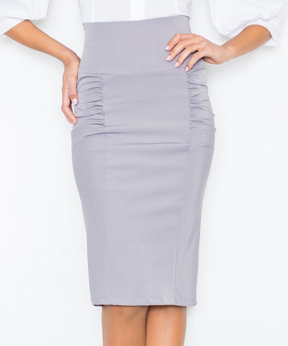 серая юбка карандаш с рюшами по бокам с чем носить