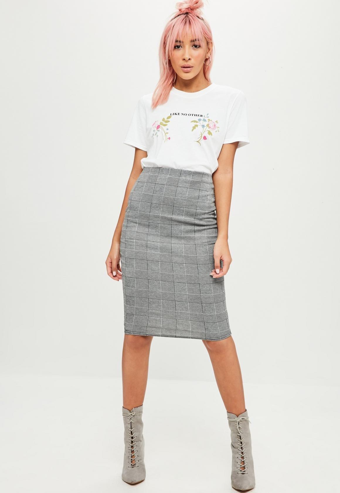 75632bcb23d серая юбка карандаш в мелкую клетку с чем носить