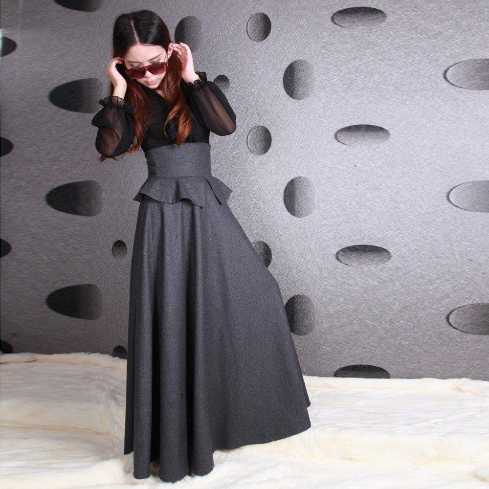 серая шерстяная юбка в пол с высокой посадкой с чем носить