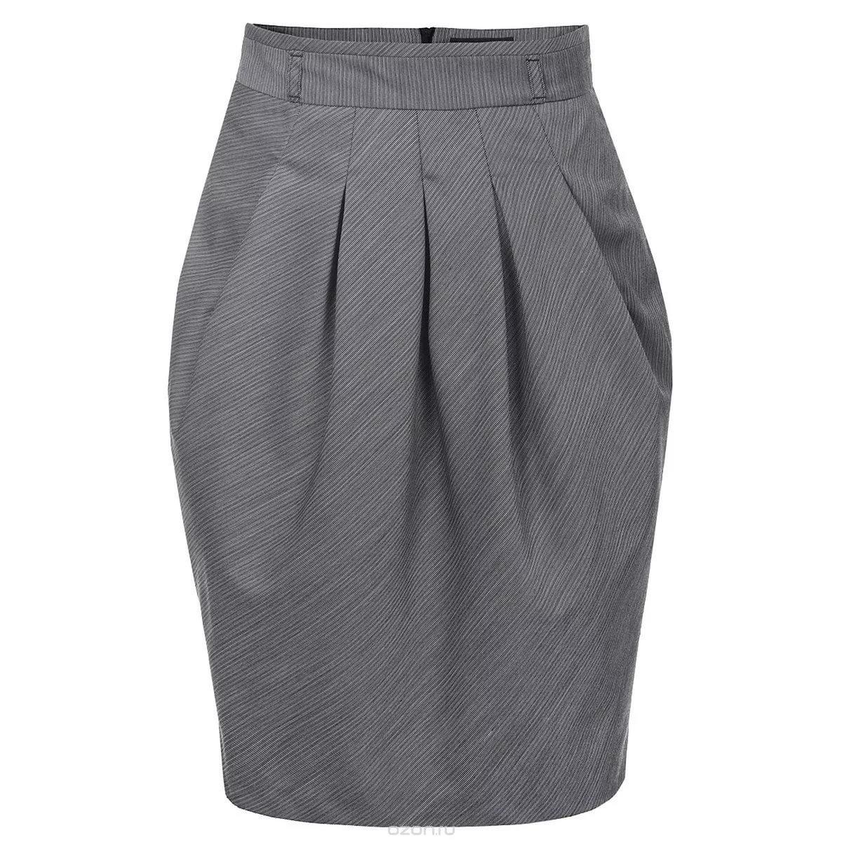 серая юбка тюльпан со сборками с чем носить