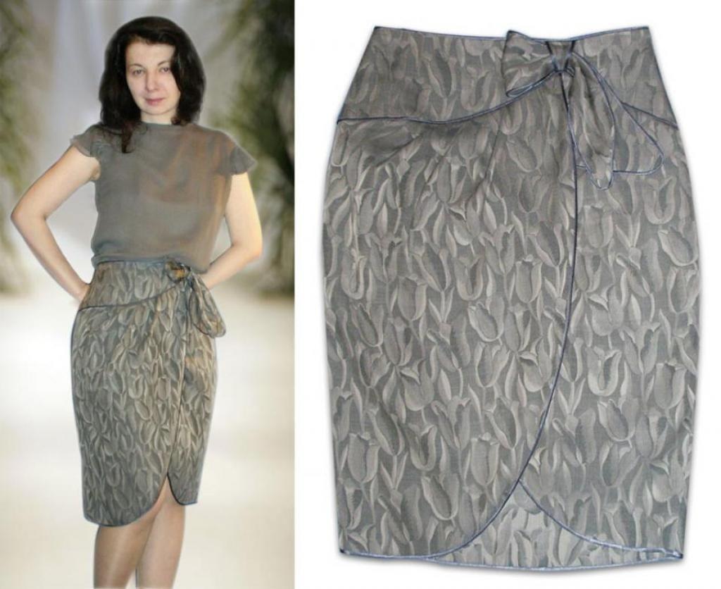 серая юбка тюльпан на запах с чем носить