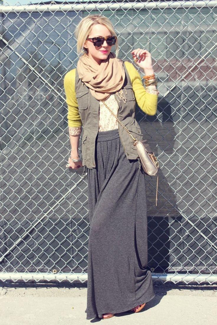 длинная серая юбка теплая с чем носить