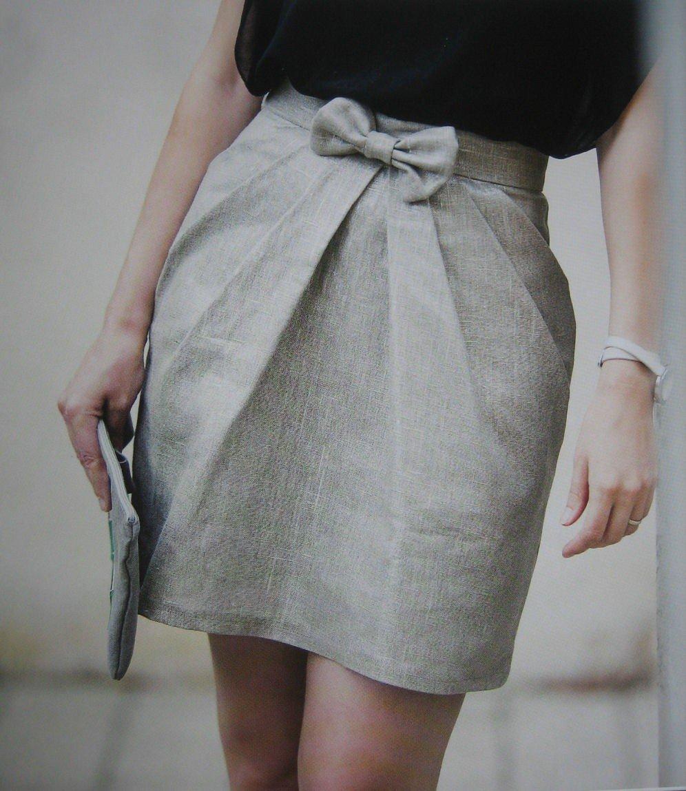 серая юбка тюльпан с бантом с чем носить