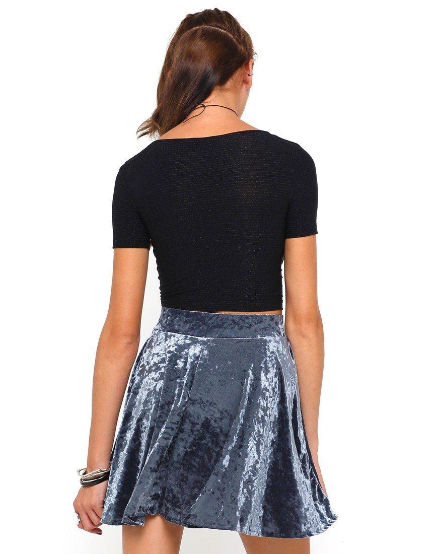 бархатная серая мини юбка с чем носить