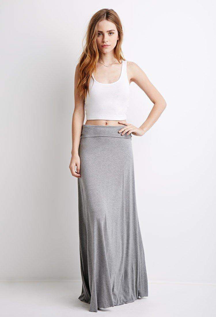 серая классическая юбка в пол с чем носить