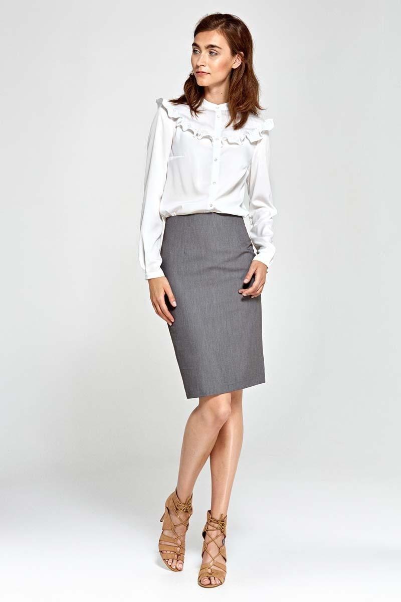 серая прямая классическая юбка с чем носить