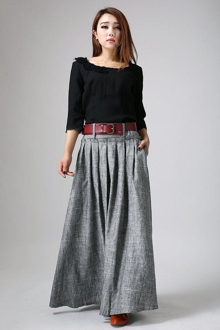 теплая серая юбка в пол с чем носить