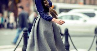 широкая серая юбка миди