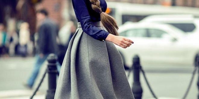 Серая юбка — с чем носить женщине? Фото. Плиссе, спортивную, карандаш, солнце, миди, в клетку, из фатина. Весной, летом, осенью, зимой.