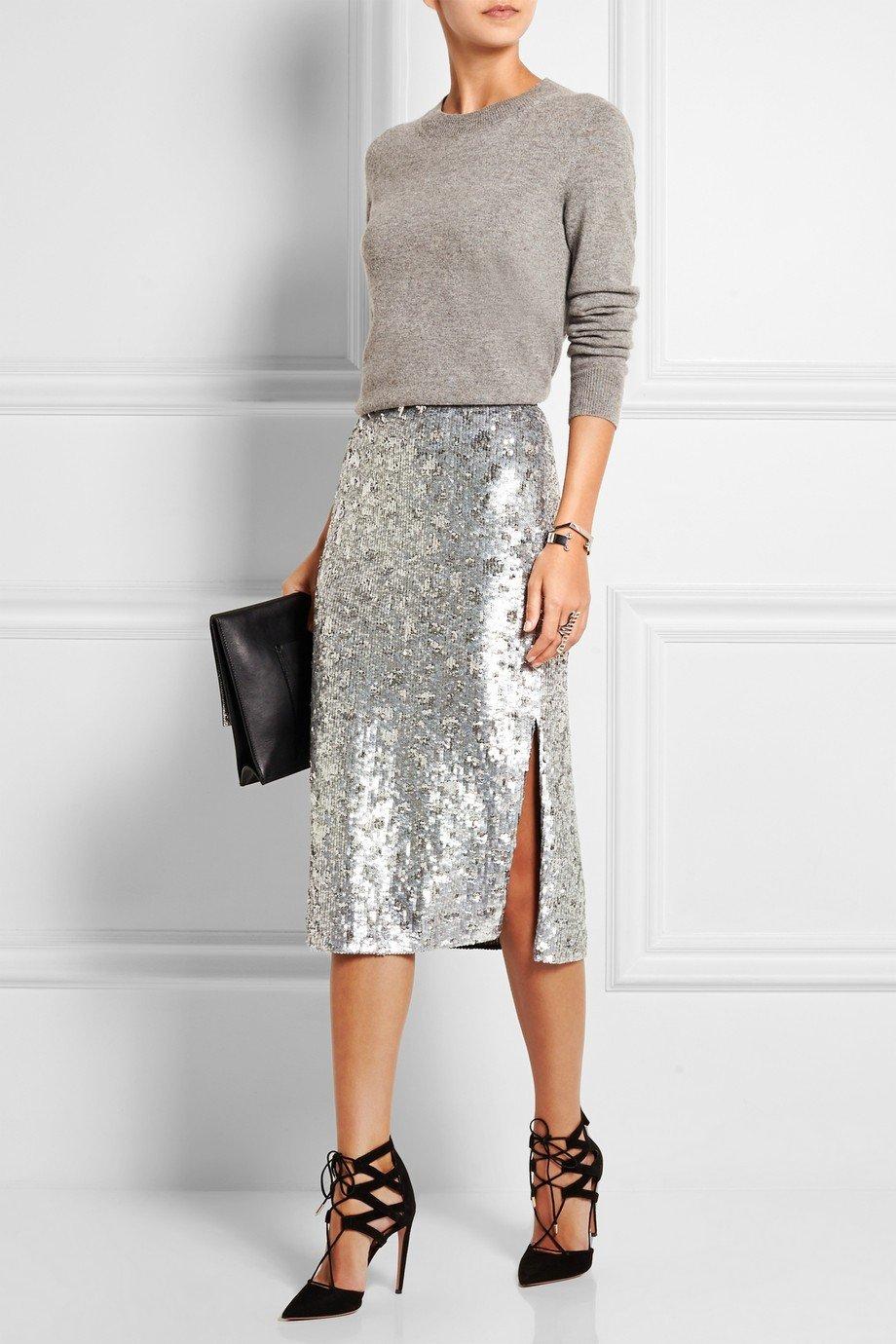 с чем носить серую блестящая юбку с разрезом