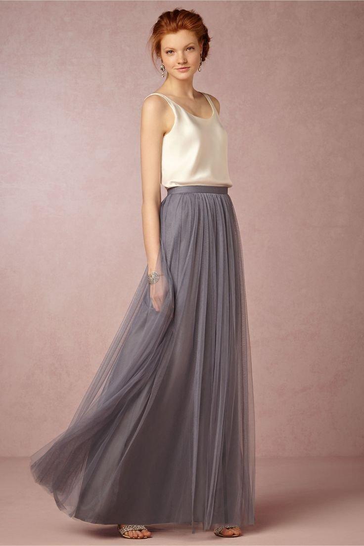 с чем носить длинная серая юбка из фатина