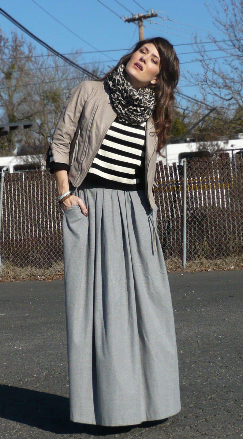 с чем носить серая юбка в пол