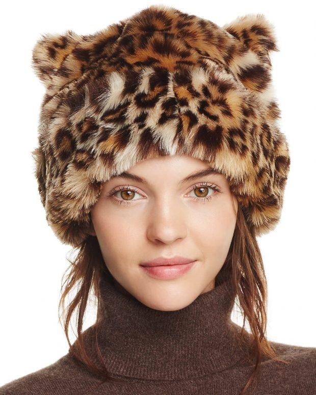 модные шапки и шарфы осень-зима 2020: меховая леопардовой расцветки