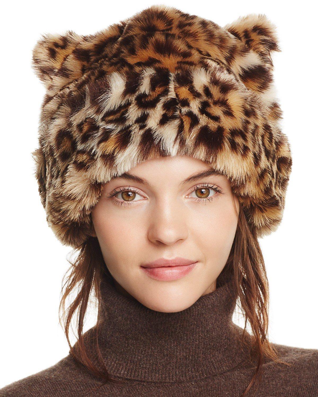 меховая шапка леопардовой расцветки