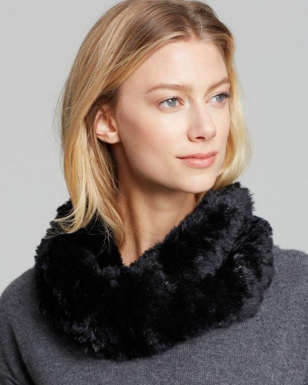шапки и шарфы осень-зима 2021: меховой хомут