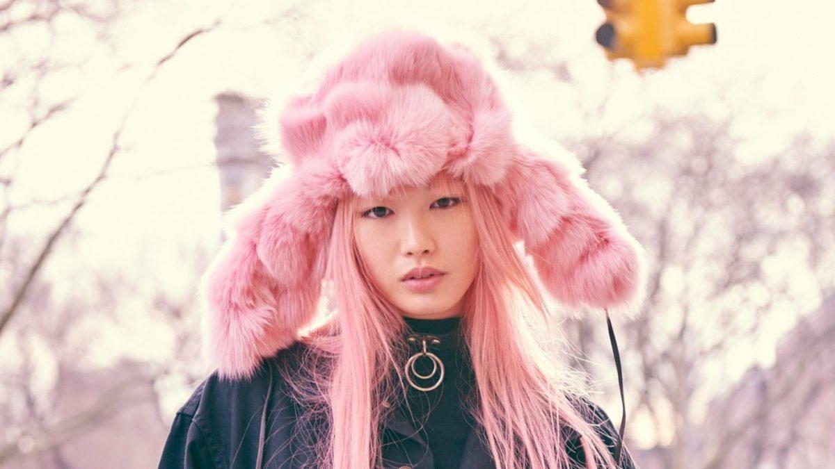 розовая меховая шапка-ушанка