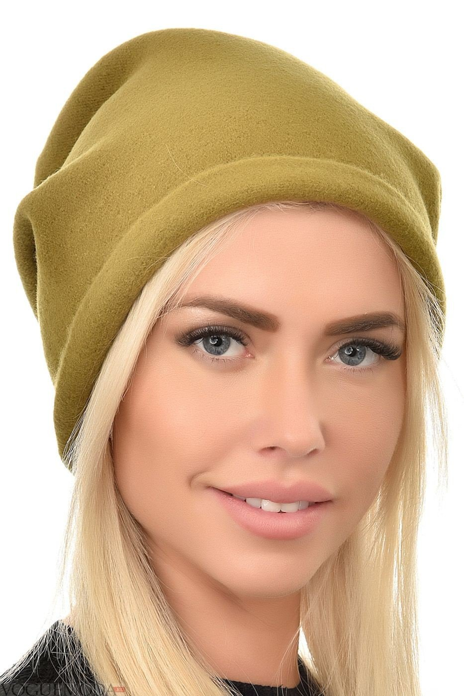 шапка бини оливкового цвета