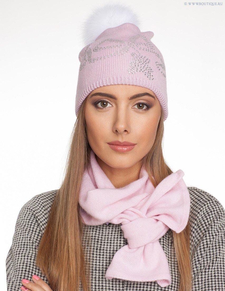 розовая шапка и шарф
