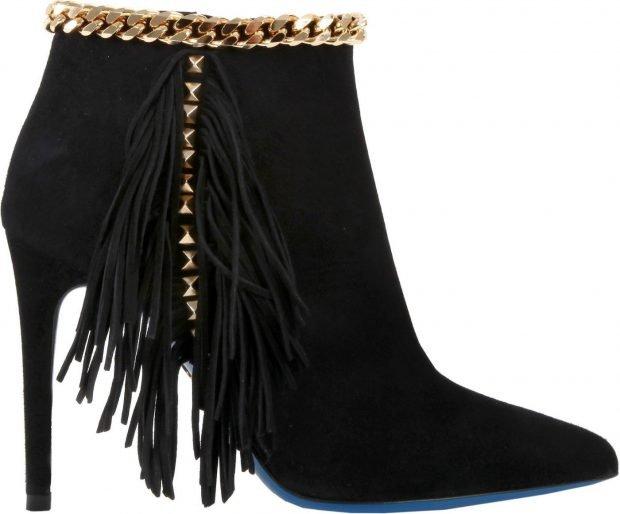 черные ботинки на шпильке с бахромой