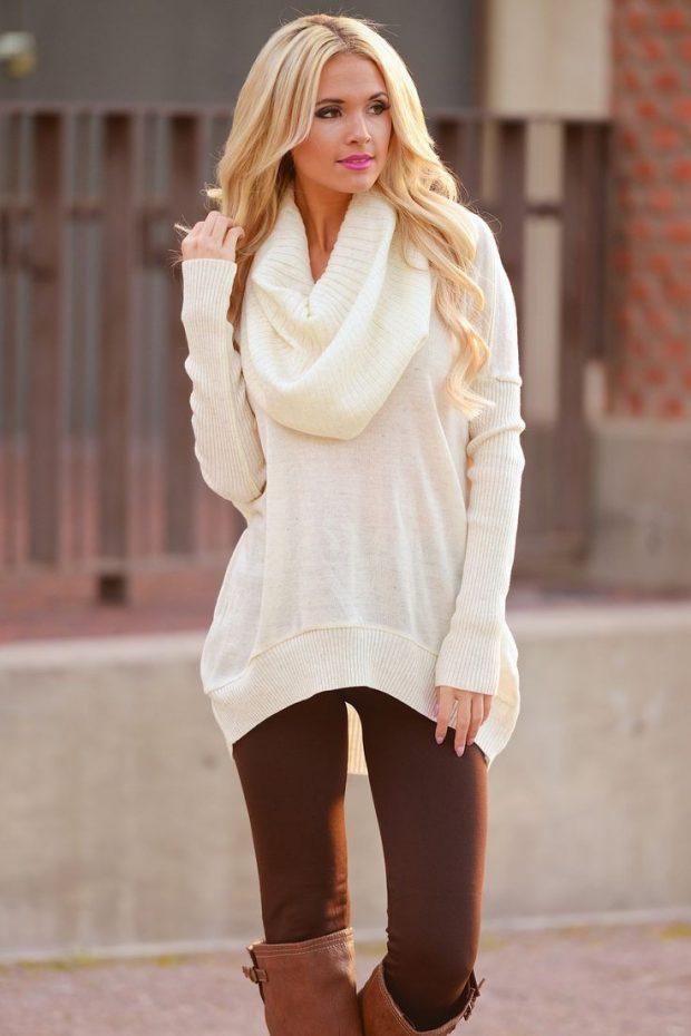 белый свитер с объемным воротником