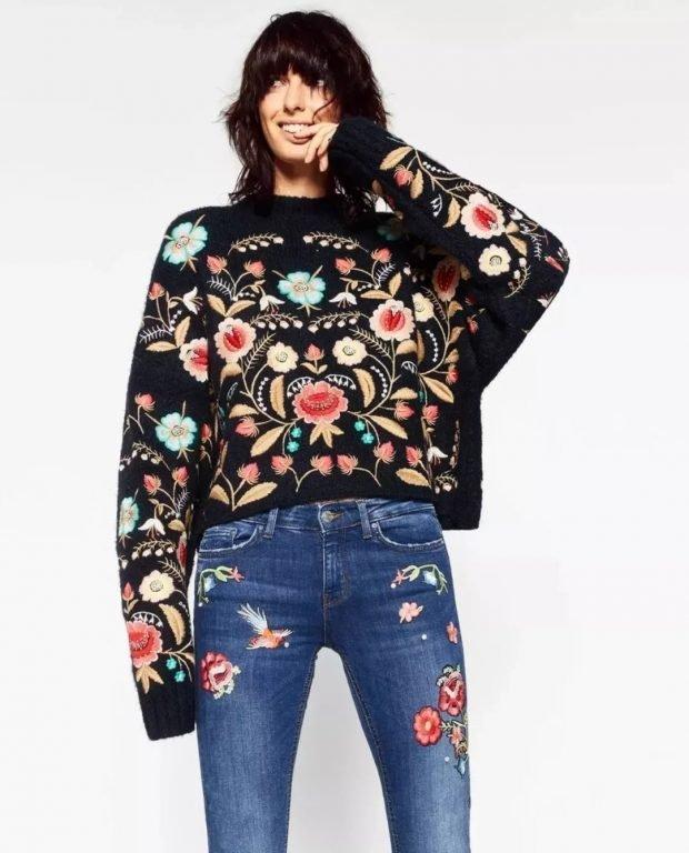 свитер с цветочным узором