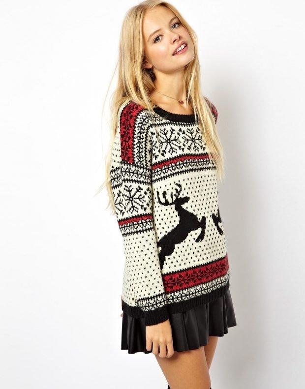теплый свитер с рисунком