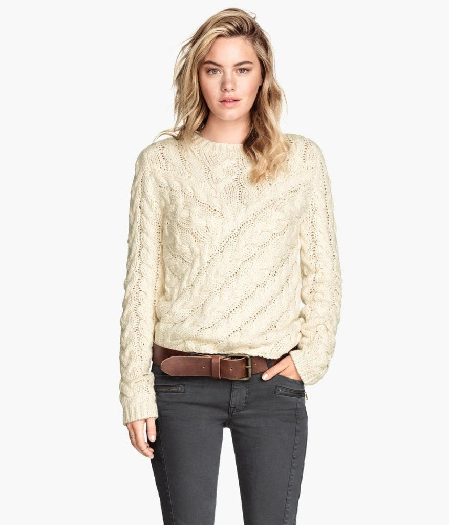 тенденции моды осень зима 2018 2019: светлый вязаный свитер