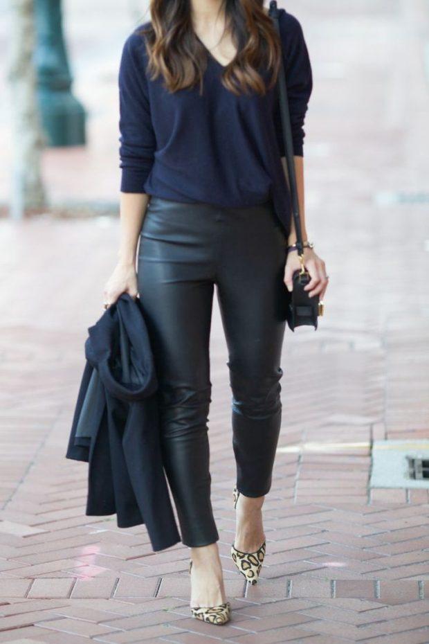 темные кожаные брюки