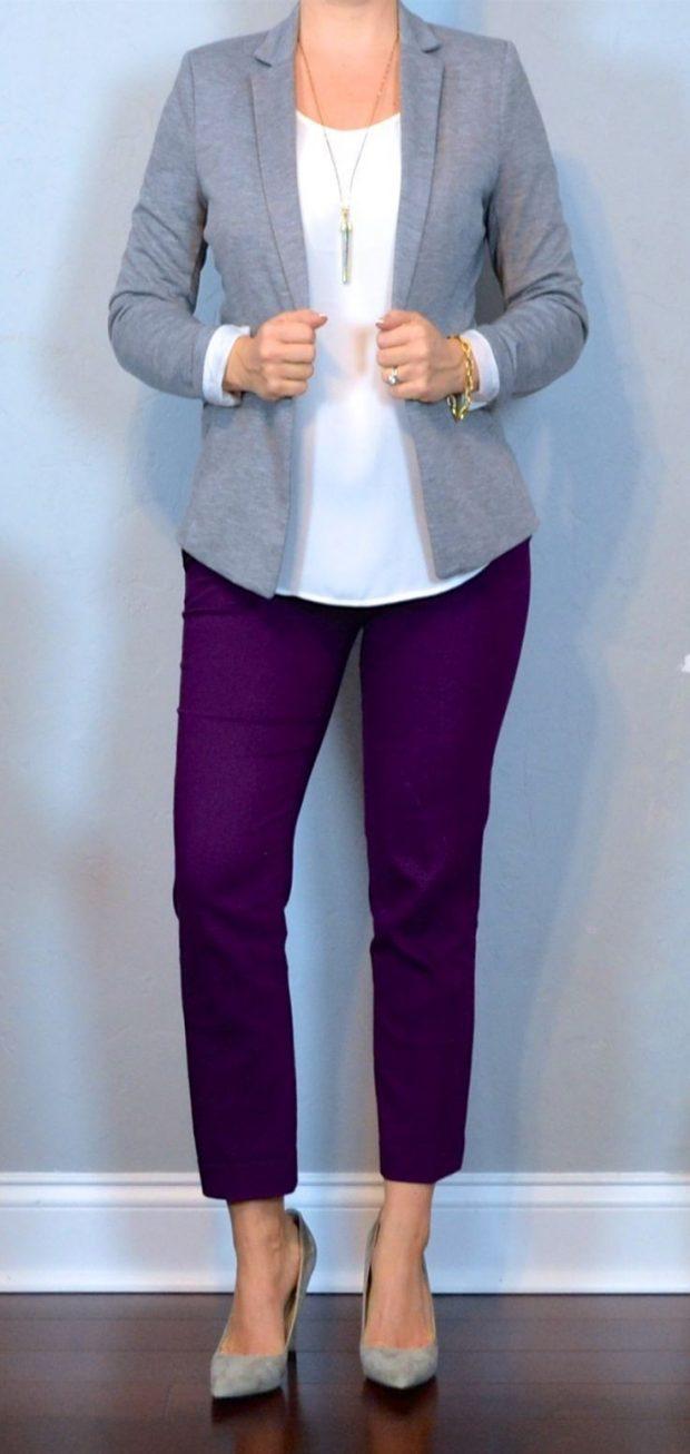 фиолетовые укороченные брюки