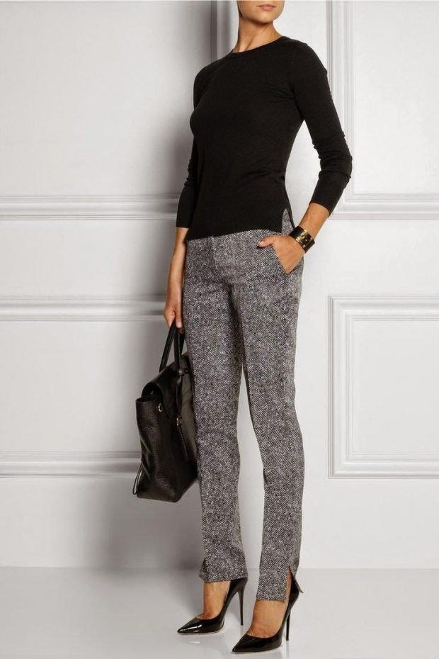 серые зимние брюки