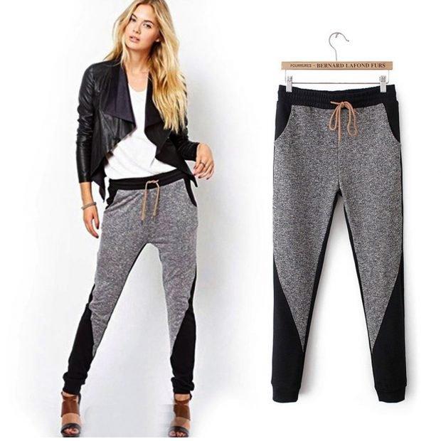 серые брюки с черными вставками