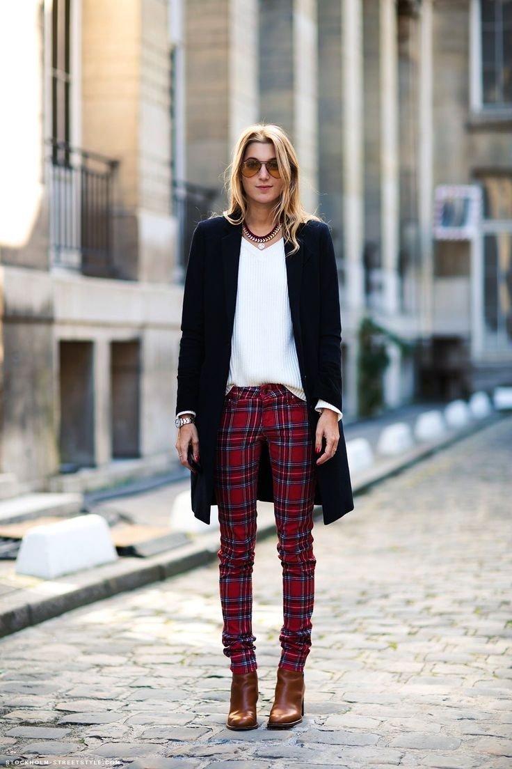 модный тренд осень зима 2018 2019: красные брюки в клетку