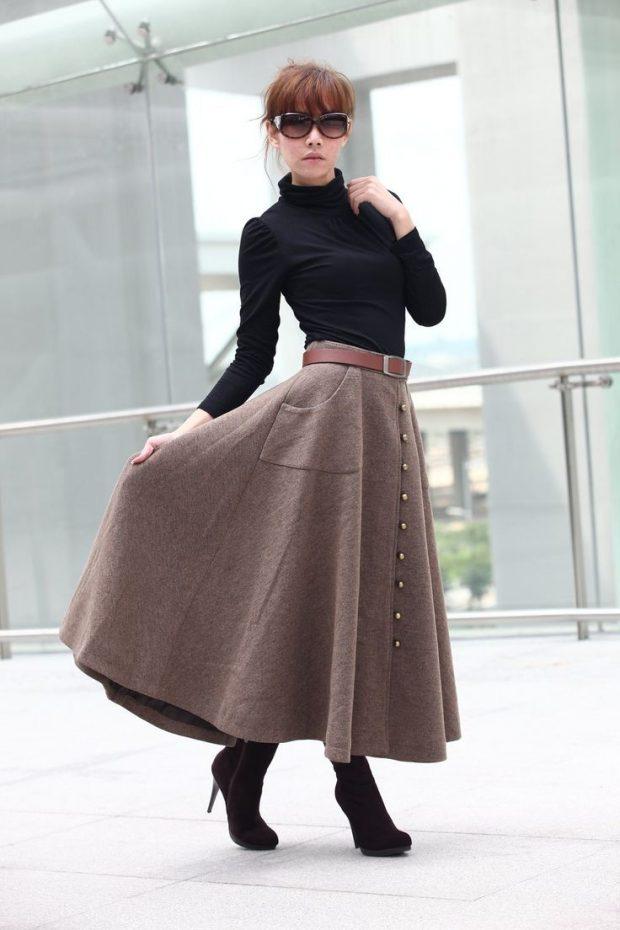 длинная клеш теплая юбка