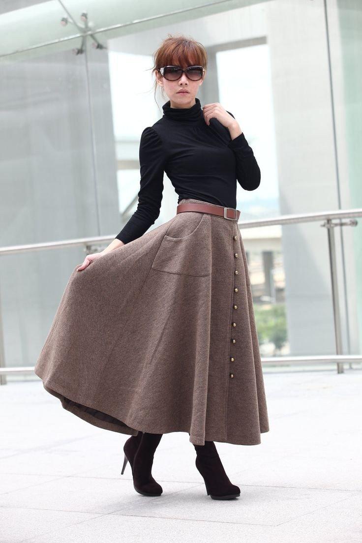 Тренды осень-зима 2018 2019: длинная клеш теплая юбка