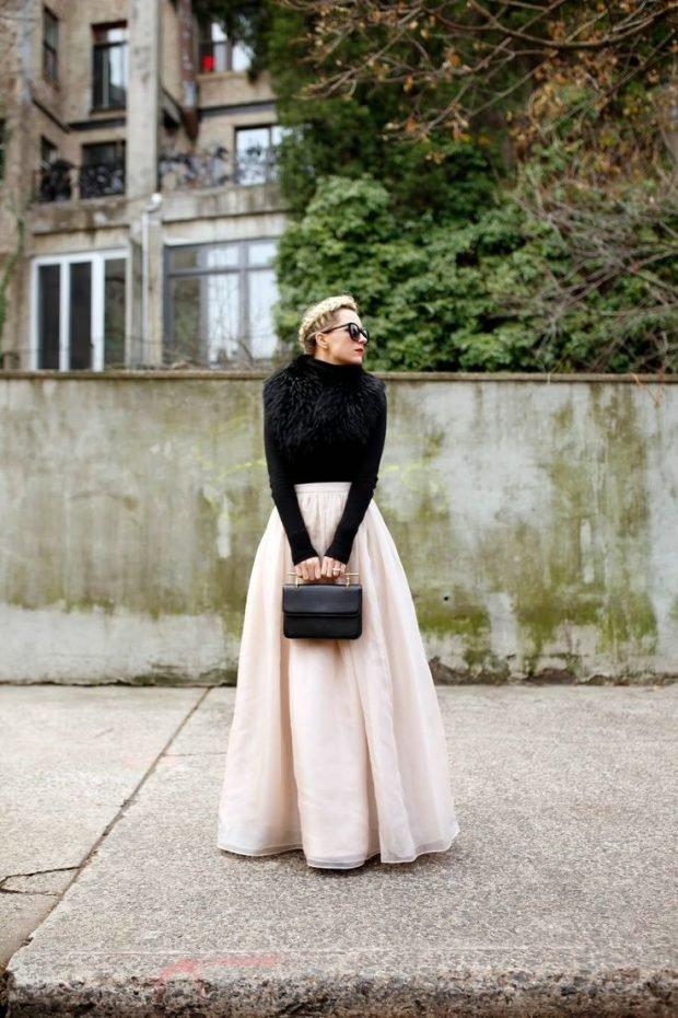 Тренды осень-зима 2019 2020: молочная пышная длинная юбка