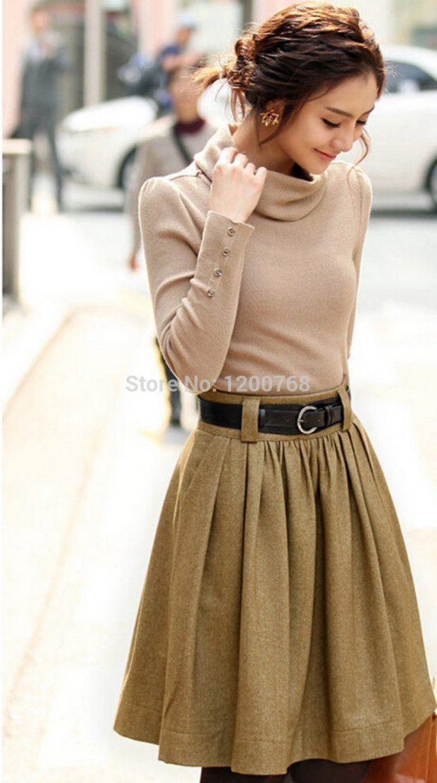 Тренды осень-зима 2019 2020: короткая расклешенная юбка светло-коричневая