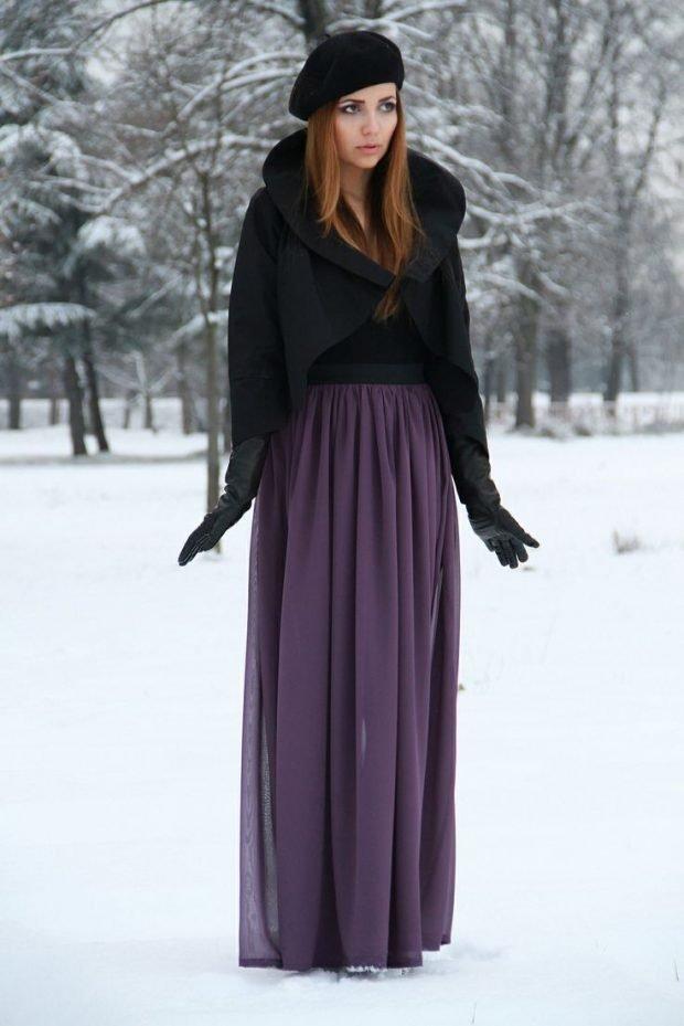 Тренды осень-зима 2019 2020: длинная фиолетовая юбка