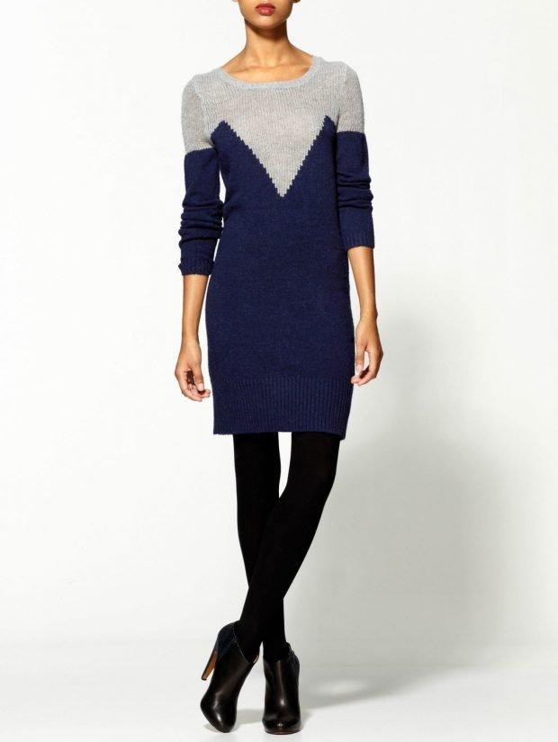 Тренды осень-зима 2019 2020: вязаное платье сине-серое