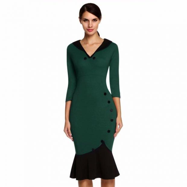 Тренды осень-зима 2019 2020: зеленое платье с черной рюшей