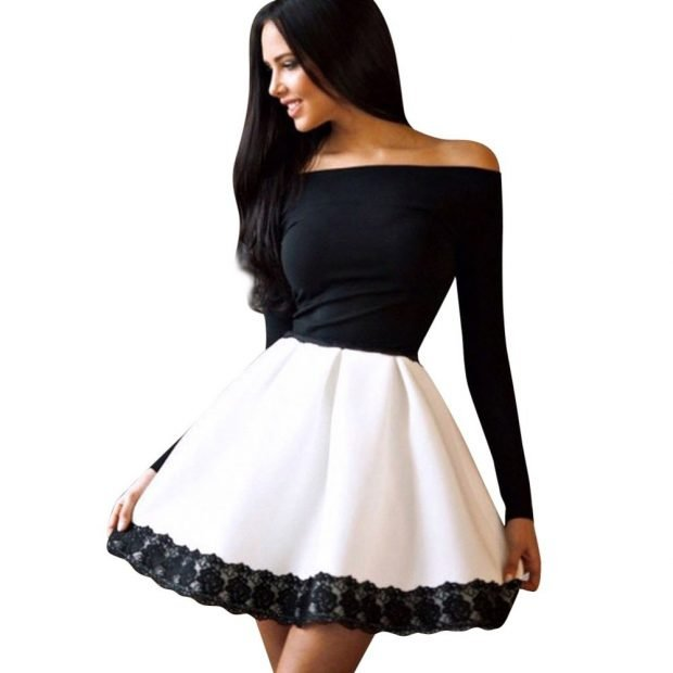 Тренды осень-зима 2019 2020: платье черно-белое с открытыми плечами